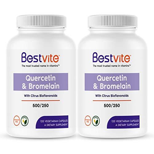 Quercetin with Bromelain 500mg/250mg (240 Vegetarian Capsules) (120 x 2) with Citrus Bioflavanoids - No Stearates - Vegan - Non GMO - Gluten Free