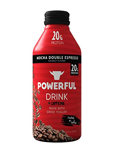 Powerful Drink – Protein Shake, Meal Replacement Shake, Greek Yogurt, Gluten Free, Ready to Drink, 20g Protein, Mocha Double Espresso, 12 Pack