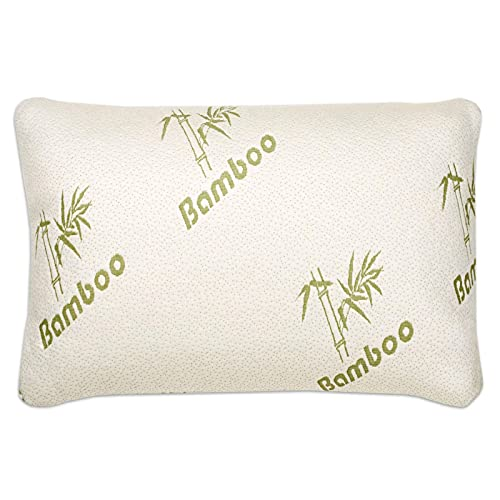 Bamboo Pillow (40% Bamboo Viscose/60% Polyester), Removable Zipper Cover, Cool Comfort & Firm Neck Support Shredded Memory Foam Fill 1PC Queen Size (18' x 28') Bed Pillow