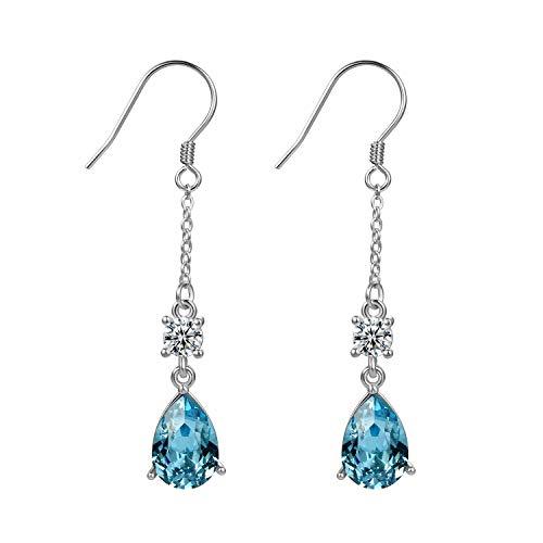 Aroncent 2PCS Pendientes de Swarovski Elemento Cristal Azul Arete 925 Plata de...