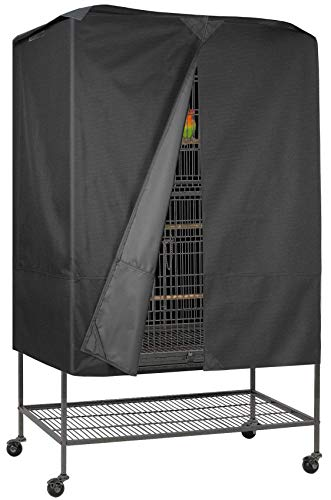 Explore Land Pet Cage Cover with Removable Top Panel - Good Night Cover for Bird Critter Cat Cage to Small Animal Privacy & Comfort (Large, Black)