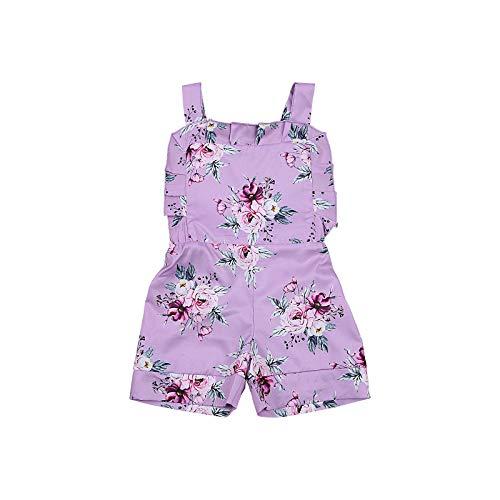 LUCSUN Mameluco para bebé niña con volantes y dobladillo sin mangas, estampado floral, correa ancha, traje de verano para niños