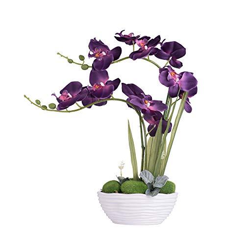 YSZL Large Artificial Potted Orchid Plant, Silk Flower Arrangement with Ceramics Vase, Dark Purple