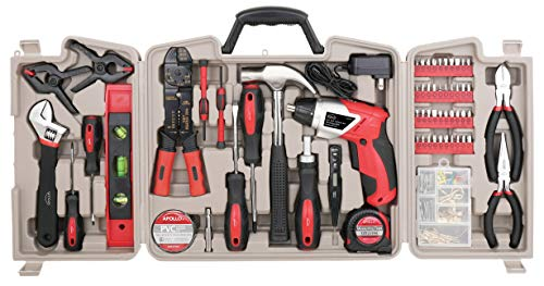 APOLLO TOOLS 161 Piece Complete Household Tool Set with 3.6 Volt Lithium-Ion Cordless Screwdriver and Most Needed Handtools Selection for Boats, Vehicle and Garage - DT0739