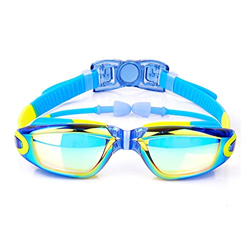 XUEXIU Niños Galvanoplastia Antiálogo Natación Gafas De Silicona Impermeable Gafas De Natación Ajustable Gafas De Natación para Niños Niñas (Color : Electroplating Blue)