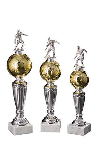 Henecka Fussball-Pokal, Fußballtrophäe, Gold-Silber, mit Wunschgravur, Größe 31 cm