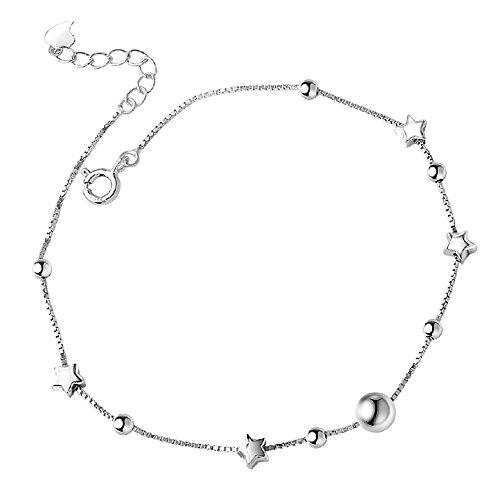 findout Tobillera con cuatro estrellas y cuentas de plata de ley 925, para mujeres y niñas (F1811)