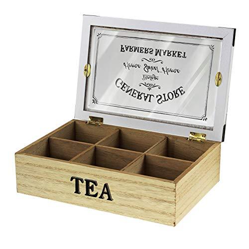 Home Sweet Home - Caja de madera para té, diseño vintage