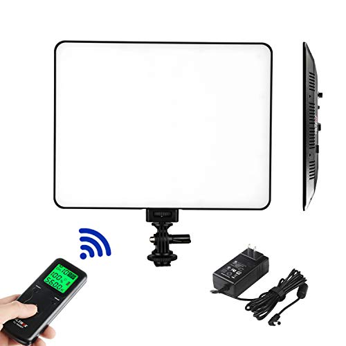 VILTROX VL-200T Ultra Thin Bi-Color Dimmable LED Video Light, Panel Light for Interview YouTube Outdoor Studio Portrait Photography Lighting with 3300K-5600K, CRI 95+ and Remote Controller