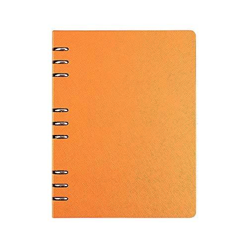 B5 Ordner, liniert, Notizbuch, Executive Origanisator, nachfüllbar, rund, Ringbuch, Lederbezug, Notizblock Orange