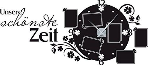 GRAZDesign Wandtattoo Bilderrahmen Uhr für Wohnzimmer Spruch Fotorahmen Zeit Blüten Fotowand selbst gestalten (130x57cm//070 schwarz//Uhrwerk Silber)