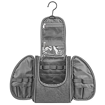 Premium Travel Hanging Toiletry Bag for Men and Women - Large Waterproof Organizer with Swivel Hook for Traveling Camping or Gym Locker - Gifts of Shoe Bag & Luggage Tag