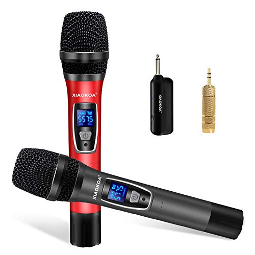 Handheld Wireless Karaoke Microphone,UHF Dual Channel Professional Cordless Microphones,1800MAh Rechargeable Receiver,Ideal for Party, Church,Singing,Compatible with Voice Amplifier, PA System