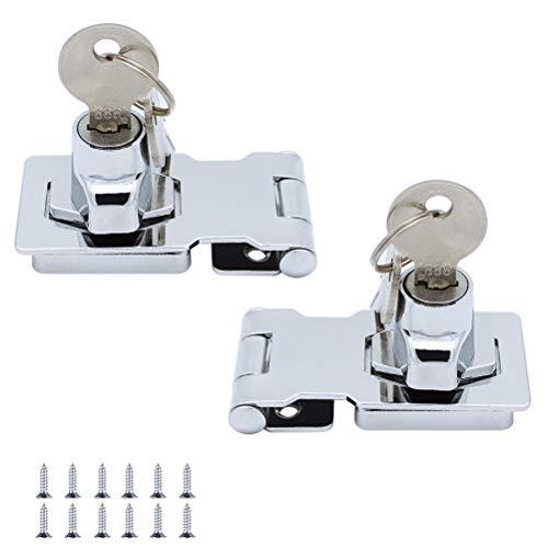 JaneYi (2 Stück) Sperren Sie Haspe Metall 64mm Türbolzen Verriegeln Schnalle mit Vorhängeschloss und Schlüssel - Verchromte Hardware zum Verschließen von SchuppenTürSchränk Kästen Möbel