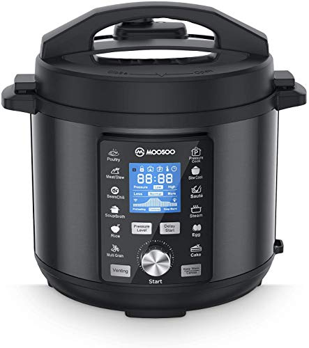 MOOSOO 13-in-1 Electric Pressure Cooker, 6 QT Instant Pot with Big LCD Display, Stainless Steel, Sterilizer, Slow Cooker, Steamer, Rice Cooker, Saute, with 8 Accessories and Recipes, Black