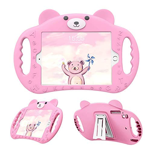 PZOZ iPad Mini Case Kids Shock Proof Handle Stand Cover for Apple 7.9 Inch Mini 1/2/3/4 Generation Tablet ShockProof 1st/2nd/3rd/4th Gen for Boys and Girls Children (Pink)