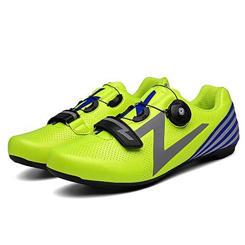 LU-Model Zapatillas de Ciclismo para Carretera Plus, con Suela de y Sistema rotativo de precisión Suela Dura para Zapatos de Montar sin Bloqueo Yellow-37