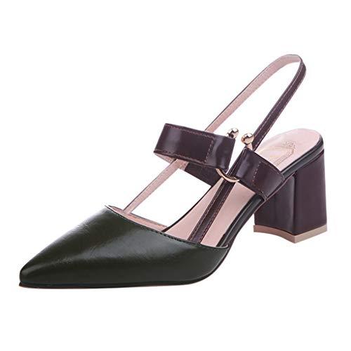 Damen Spitze Absatzschuhe mit Blockabsatz Pumps Slingpumps Mittelhohe Elegante Schuhe Bequem Frühling Sommer Sandalen Celucke (Grün, EU36)