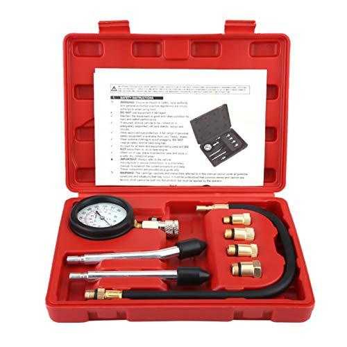 G326 Kit Test di Compressione del Motore a Benzina Kit di Test per misuratore di Benzina per Bicicletta per Auto 8 Pezzi Strumento diagnostico per manometro del Cilindro del Motore