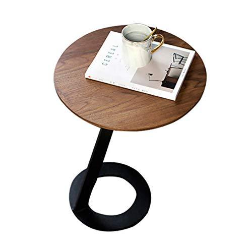 YIXIN2013SHOP Mesa de Centro Simple C Tipo Casa Rústica Metal End Tabla de Atreme Acento Sala de Estar Sofá Mesa Auxiliar Mesa de café Redonda Mesa pequeña, Negra Negra Mesitas de salón para el café