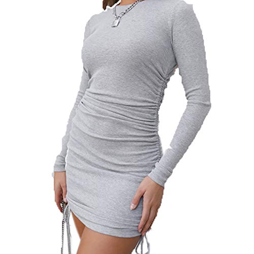 LAIYUTING 2020 New European and American Double-Sided Drawstring Long Sleeve Round Neck Dress Female Autumn and Winter Sexy One Step Dress Grey