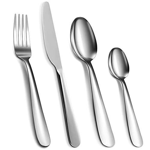 Cibeat Cubertería de 24 piezas de acero inoxidable plateado, cuchillo, tenedor y cuchara, juego de utensilios para 6, pulido de espejo y apto para lavavajillas.
