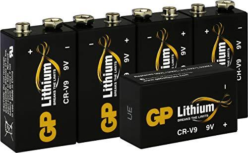 GP Lithium 9V Block Batterien, 9 Volt Lithium Li-MnO2, 10 Jahres Batterie Longlife (5 Stück 9v Block Lithium) ideal z.B. als Rauchmelder Batterie, für Feuermelder, Mikrofone etc
