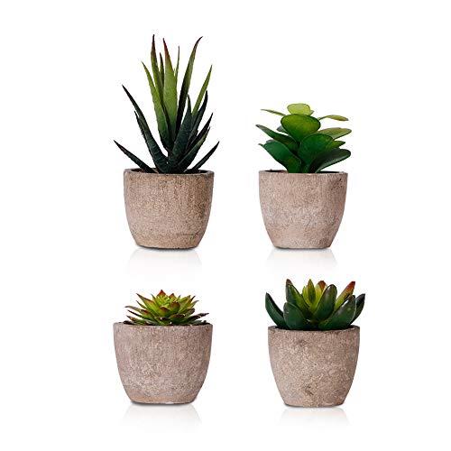 Dsaren 4 Piezas Mini Plantas Suculentas Artificiales con Maceta Plantas Plástico Pequeñas Decorativas para Interior Exterior Hogar Oficina Balcón Casa Regalo (4 Piezas)
