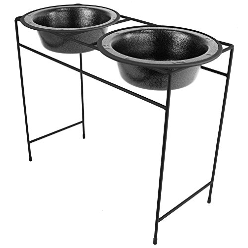 Platinum Pets Modern Double Diner Feeder with Stainless Steel Dog Bowls, X-Large, Silver Vein