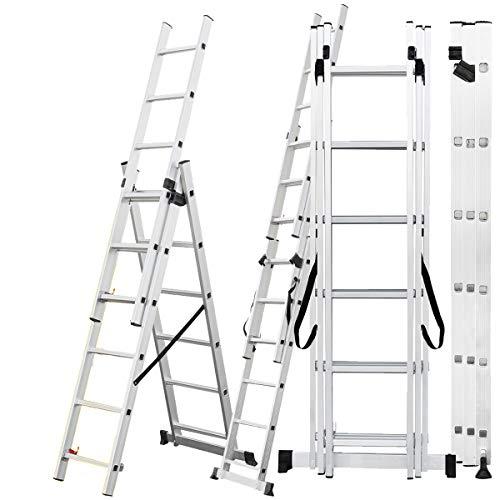 Craftfull Aluminium Leiter Teleskopleiter Klappleiter CF-106A - 6 Größen 3x6/3x7/3x9/3x11/3x12/3x14 - Stehleiter - Multifunktionsleiter (4.22 Meter (3x7 Sprossen))