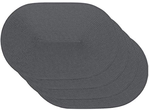 Venilia spiral grey Tischset Platzset Tischwäsche Platzdeckchen für Esszimmer gewebt Oval Muster Grau 4er Set Vinyl, lebensmittelecht, 45 x 30 cm, 4 Stück, 59114, Kunststoff