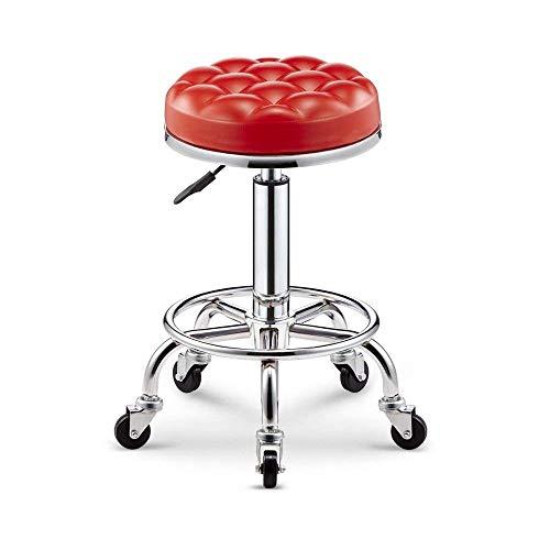 JFFFFWI Barhocker Simple Lattice Bar Spa Salon Massagegerät Manikürhocker (Farbe: Rot)