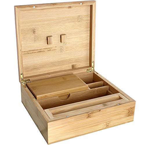 Heisenberg Caja de bambú - 22 x 19,5 x 8 cm - Rolling Box Incluyendo Caja de tamiz - 5 Compartimentos (Extra Grande)