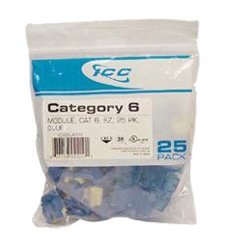 ICC CAT6 RJ45 Keystone Jack for EZ Style, Blue, 25-Pack