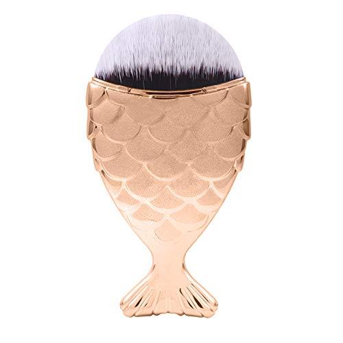 Pinceau de maquillage 4PCS ue sirène échelle maquillage pinceau queue de poisson brosse pinceau fishscale beauté joues blush outils de maquillage (Color : Jaune, Size : One Size)