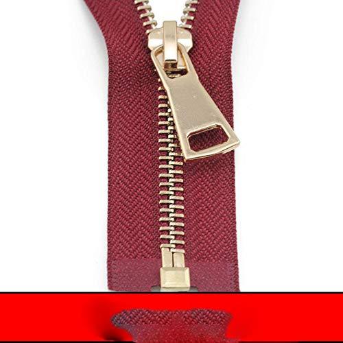 5# 60/70/80/90/100/120/150 cm cierre automático de extremo abierto chapado en oro rosa uso de cremallera de metal para ropa, zapatos, ropa de bolsillo, rojo vino, 5#, 80 cm