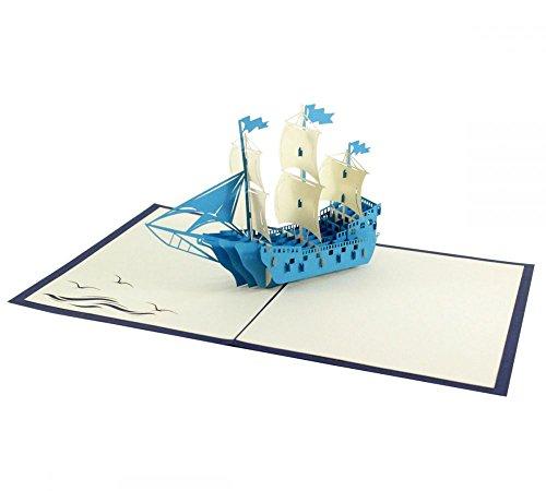 Dreimaster (Blau) als 3D Karte/Pop-Up Karte zum Geburtstag, als Glückwunschkarte oder Grußkarte verschenken