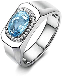AueDsa Anillos de Plata 925 de Ley Mujer,Anillo Plata y Azul Oval 6X8MM Topacio Azul Blanco Anillos Mujer Compromiso Talla 16