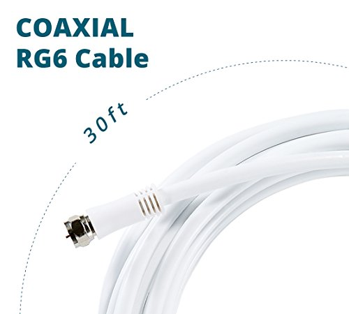 ANTOP Digital Coaxial RG6 Audio Video Cables (30ft) with F-Male Connector Pin Perfect for Antenna, Cable and Satellite TV Connection – Tri-Shielded Heavy Duty Grade in White Color
