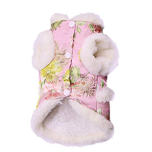 NACOCO Dog Peony Cheongsam Pet New Year Costume Tang Dynasty Cat Dress for Schnauzer Teddy French Bulldog (M, Pink)