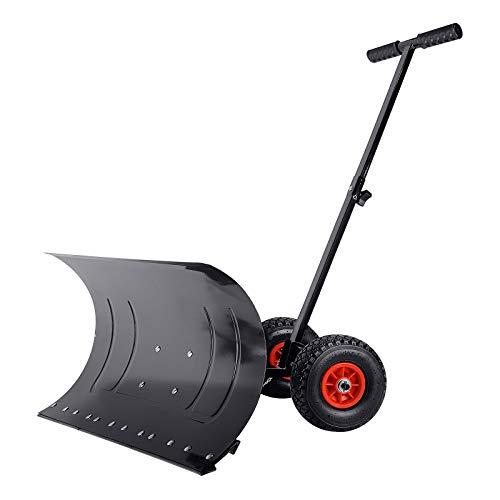 UISBERT - Pala da neve con ruote, altezza regolabile in 5 posizioni,...