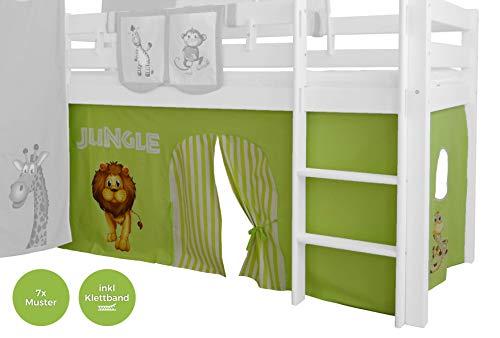XXL Discount Vorhang 3-teilig 100% Baumwolle Stoffvorhang Bettvorhang inkl Klettband für Hochbett Spielbett Etagenbett Stockbett Kinderbett (Grün/Beige, Dschungel)