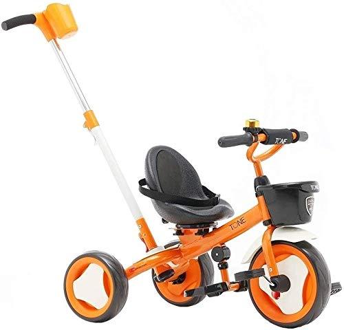 WLD Kinderfiets, Trike Kids' Tricycles Balance Bike 3 in 1 Baby Carriage Kids driewieler multifunctioneel met opvouwbare pedaalgordel Jongens en Meisjes Verjaardagscadeaus ORANJE