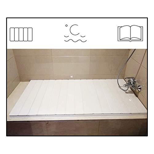 GAOYUY Badewannenabdeckung, Dicke 0,6 cm Badewannenisolationsabdeckung Korrosionsschutz, Anti-Aging Klappbare Multifunktionshalterung (Color : White, Size : 1.70X0.7M)