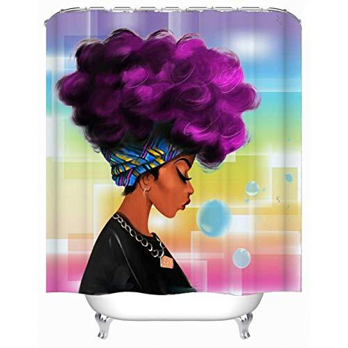 Afro African Woman Bathroom Shower Curtain Waterproof Fabric 71*71 inch /& Hooks