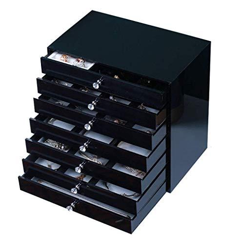 OH Reloj Organizador de Joyería Mostrar Caja Extra Gran Caja de Joyería, Caja de Alenamiento de 7 Capas, Organizador de Acrílico, con Cajón, Negro Exquisito