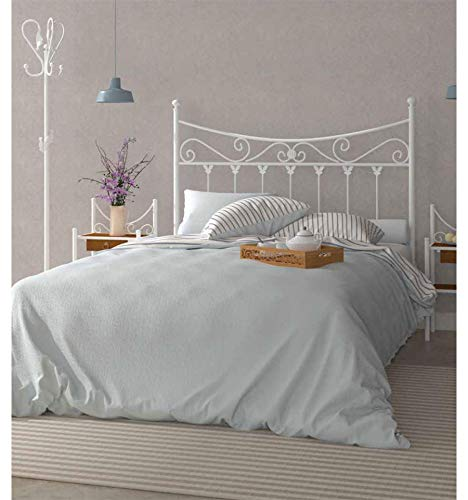 Cabecero de forja Coín - 19-Blanco, Cabecero para colchón de 180 cm