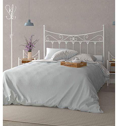 Cabecero de forja Coín - 19-Blanco, Cabecero para colchón de 150 cm