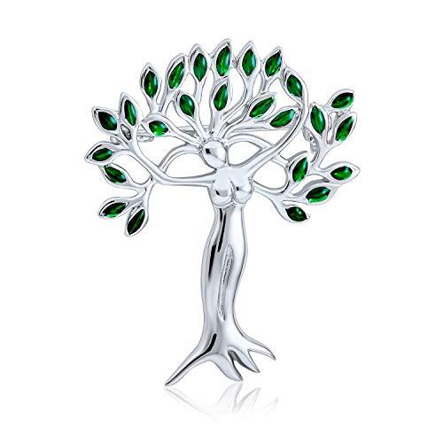 Bling Jewelry Árbol De Hojas Verdes De La Vida, Protección De La Naturaleza De La Diosa Madre Tierra Broche para Mujer 925