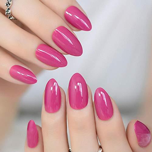CSCH Künstliche Nägel Falsche Nägel Oval Scharf Mittel Violett Rot Gefälschte Nägel Stiletto Pink Rose Spitze Vollabdeckung UV-Gel Täglich tragen Nail Art Tipps